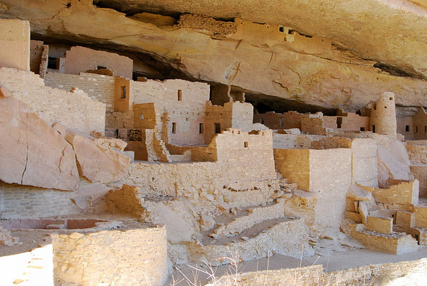 Cliff Palace in Mesa Verde Natl Monument,  SE Colorado, April 2008.
